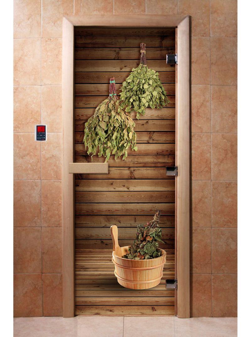 Дверь для сауны с фотопечатью A004