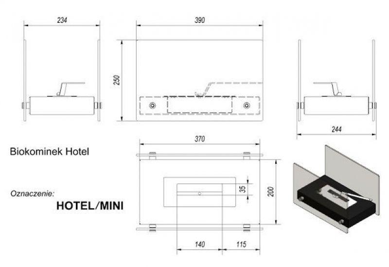 Стеклянный биокамин HOTEL MINI